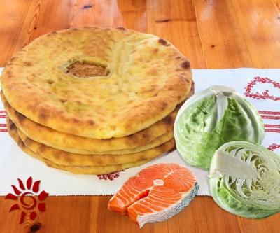 Пирог с семгой и капустой